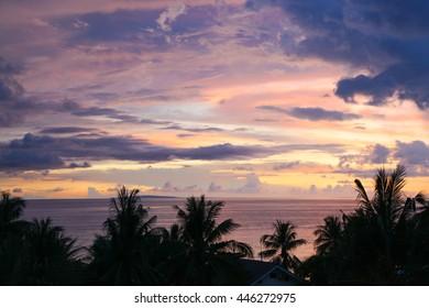 Purple sunset over Diniwid beach, Boracay Island, Philippines
