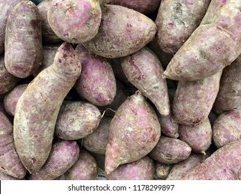 Purple sweet potatoes at local supermaket in Thailand