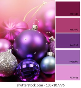 Purple Theme Christmas Decor Trend Designer Pack Color Palette with muted pinks and purple hues. Designer pack with photograph and swatches with hex codes references.
