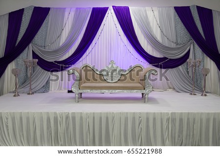 Purple Themed Wedding Stage Lifted Stock Photo Edit Now 655221988