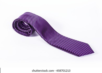 Purple tie isolated on white background