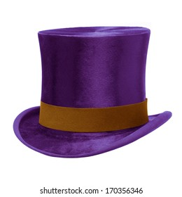 Purple Top Hat with brown band, isolated against white background