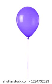 A purple toy balloon inflated with helium, floating in front of a white background.