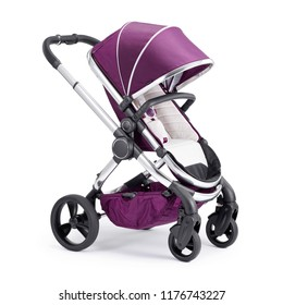 Purple Travel System Isolated on White Background. Side View of Baby Transport. Pink Pushchair with Canopy and Swivel Front Wheels. Infant Carriage Seat. Stroller Pram with Adjustable Showerproof Hood
