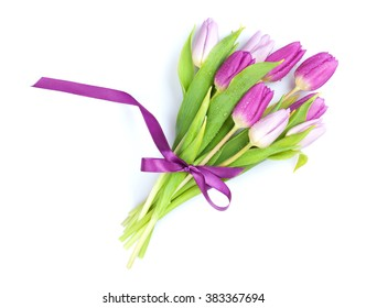 Purple tulips bouquet. Isolated on white background