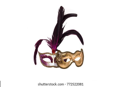 purple venetian mask with feather isolated on white background