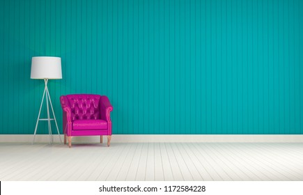 Purple vintage sofa on the room green wall background