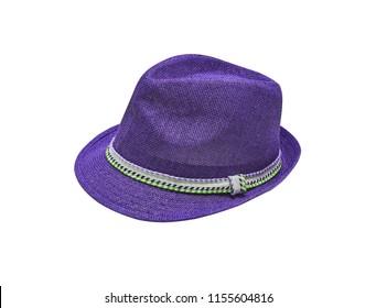 Purple vintage straw children hat fasion. Isolated on white.