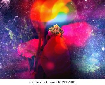 purple violet flower, a beam of light falls directly on the pistil, the environment powerful in the colors blue to purple and light reflections with glitter dust.
