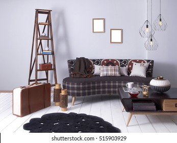 purple wall vintage interior suitcase and stairs, modern lamp