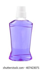 Purple water mouthwash isolate on white background