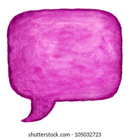 Purple watercolor blank speech bubble dialog square shape on white background