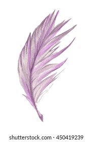 Purple watercolor feather. Hand drawn watercolor purple feather. Boho feather style. Raster illustration.