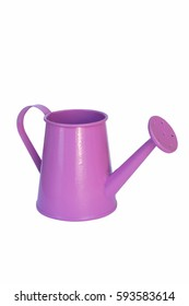 purple watering can close up on a white background