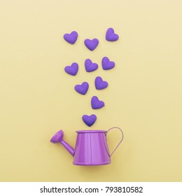 purple watering can for flowers from which fly hearts. minimal concept