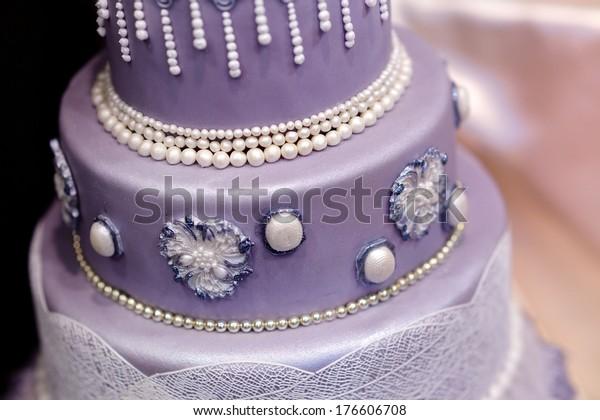 Prime Purple Wedding Cake Decorated Flowers Pearls Stock Photo Edit Now Funny Birthday Cards Online Ioscodamsfinfo