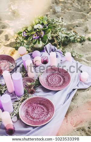 Purple Wedding Table Decoration Plates Glasses Stock Photo Edit Now