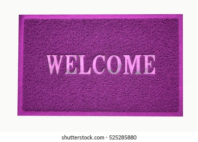 purple welcome carpet on white background