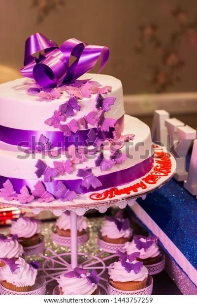 Sensational Purple White Muffins Birthday Cake Stock Photo Edit Now 1443757259 Personalised Birthday Cards Arneslily Jamesorg
