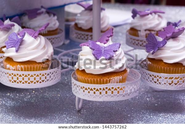 Astonishing Purple White Muffins Birthday Cake Stock Photo Edit Now 1443757262 Personalised Birthday Cards Arneslily Jamesorg