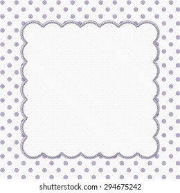 Purple and White Polka Dot Frame with Embroidery Stitches Background with center for your message