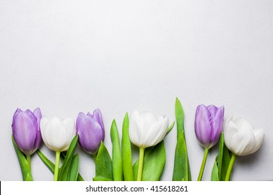 Purple and white tulips on a pearl white color tile with copy space