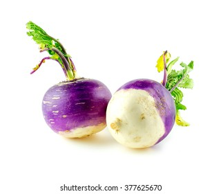 Purple and white turnips on white background