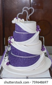 Purple white wedding cake