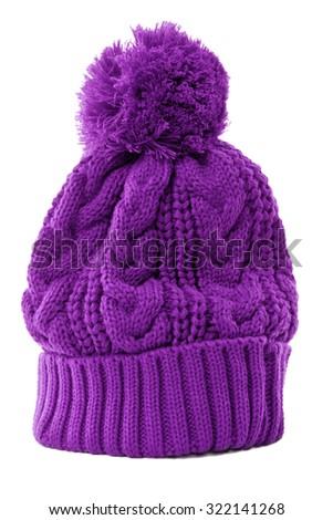 d1e759aedee Purple Winter Bobble Hat Knit Hat Stock Photo (Edit Now) 322141268 ...