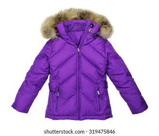Purple winter jacket, isolated on white