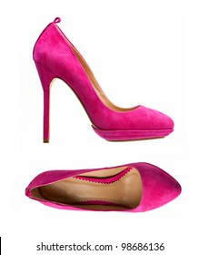 Purple women shoes isolated over white, side view and view from above