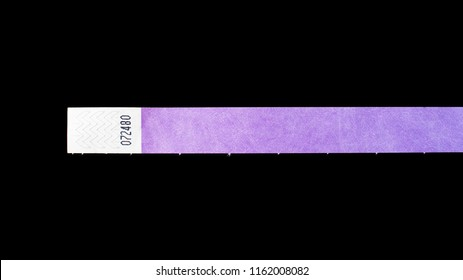 Purple wristband for events, bracelet for concerts on black background