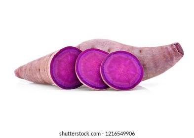 purple yams on isolated white background.stacked focus image