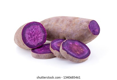 purple yams on isolated white background. full depth of field
