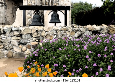 Purple and yellow garden flowers near two iron bells