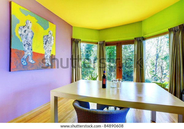 Purple Yellow Green Furnished Colored Living Stock Photo ...