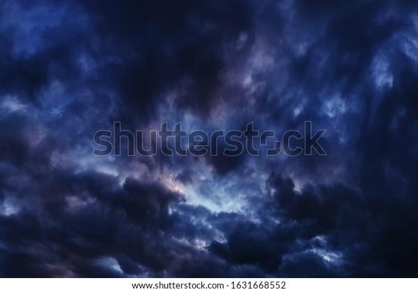 Purpleblue Dark Clouds Aesthetic Wallpaper Dramatic Stock Photo