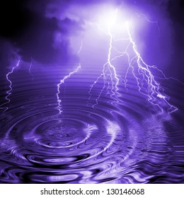 Purple/lilac lightning background with reflections in water ripple