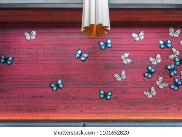 Purple-Red wall with blue butterflies