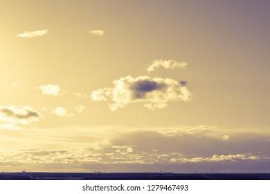 Purple-yellow light in the sky
