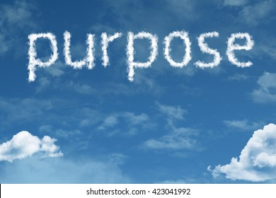 Purpose cloud word with a blue sky