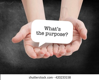 Purpose written on a speechbubble