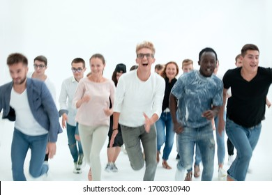 purposeful young people quickly run to their goal