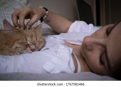 purring cat and woman rest