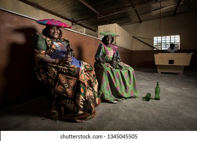 Purros, Kunene Region, Namibia - May 11, 2018 : The Herero who live in the arid Kunene Region have the same needs as westerners. On Saturdays they come to the shops to buy supplies, socialise & unwind
