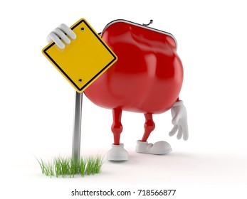 Purse character with blank road sign isolated on white background. 3d illustration