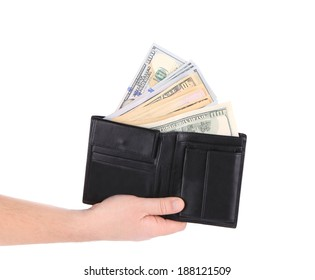 Purse with dollar bills in hand. Isolated on a white background.