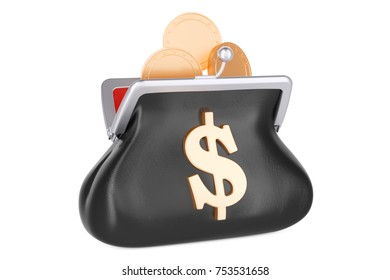 Purse with dollar symbol and golden coins, 3D rendering isolated on white background