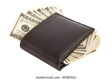 a purse with dollars isolated on a white background