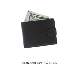 purse with dollars on a white background